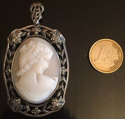 HUGE MEDAILLE CAMEO PENDANT BROCH FRENCH SILVER 19th HALLMARK CAMÉE FEMME ARGENT