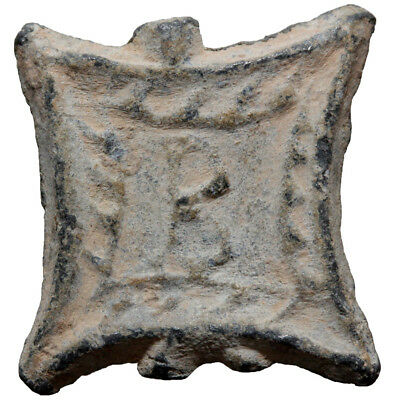 Square lead token. 25x23mm, 7 gr. B within square / Blank. Athens 1964, L10