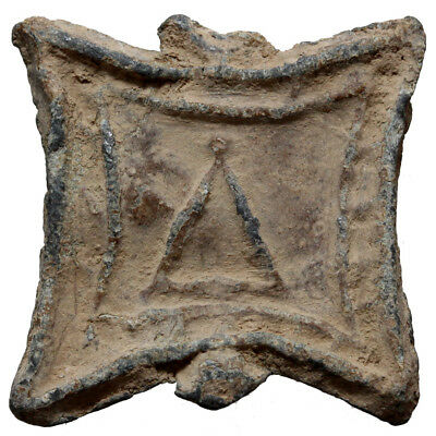 Square lead token. 33x32mm, 14.6 gr. Δ within square / Blank. Athens
