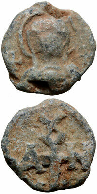 BYZANTINE LEAD SEAL. Obv: Half bust of the Virgin orans, veiled and nimbate; cro