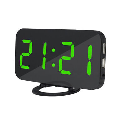 LED Digital Alarm Clock USB Charging for Cell Phone Snooze and Dimmer -Green