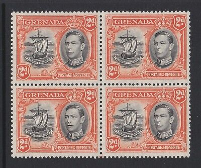 GRENADA 1938-50 2d BLACK & ORANGE P.13½ x 12½ IN BLOCK OF FOUR SG 156a MNH.
