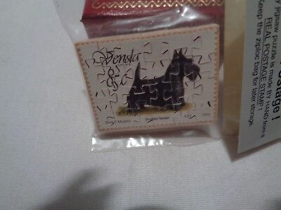 UNBELIVEABLE tiny 24 piece wooden jigsaw puzzle out of scottie dog postage stamp