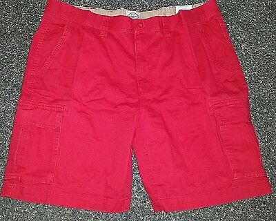 4987e15383 NWT Mens JCP St Johns Bay Legacy Cargo Flat Front Shorts Red Size 42 100%