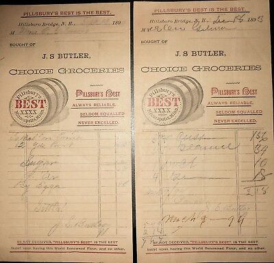 2 1893 Receipts J. S. Butler Grocer, Hillsboro Bridge NH Pillsbury Flour Advert.