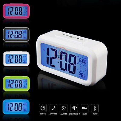 Battery Digital Alarm Clock with LCD Display Backlight Calendar Snooze UK