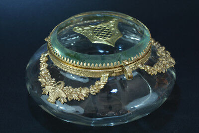 Antique jewelry box casket Louis XVI style glass and brass garlands odf flowers