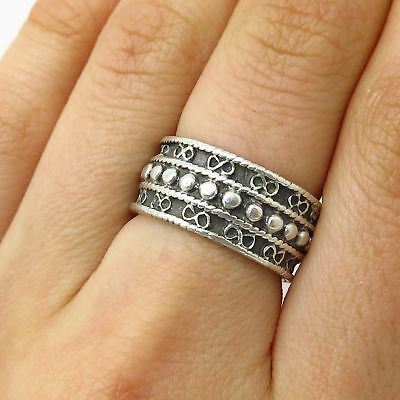 Vtg 1998 MMA 925 Sterling Silver Ethnic Infinity Pattern Band Ring Size 6.5