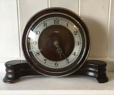 Stylish Vintage Retro Metamec Wooden Clock With Chrome Surround