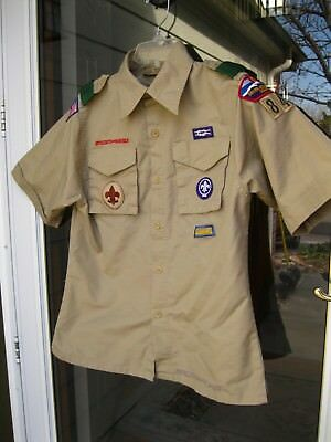 BOY SCOUTS BSA Uniform Shirt SHORT SLEEVES ~ Tan Cotton/Polyester YOUTH LARGE