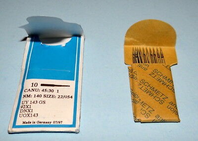 10 Pack SCHMETZ sewing needles Canu: 45:30 1, Nm: 140, Size: 22/054, UY143GS