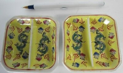Pair of Chinese Famille Rose Porcelain Dragon Saucers in Yellow Ground