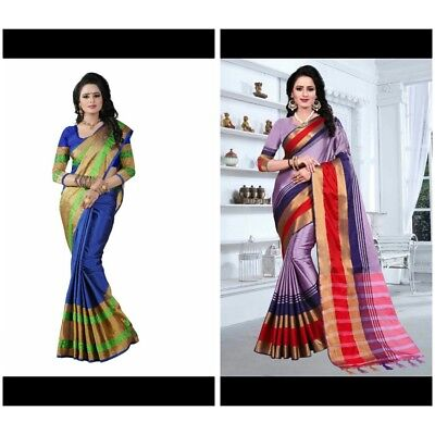 Indian women Blue & purple Saree Ethnic Cotton party wear casual Combo Pack sari