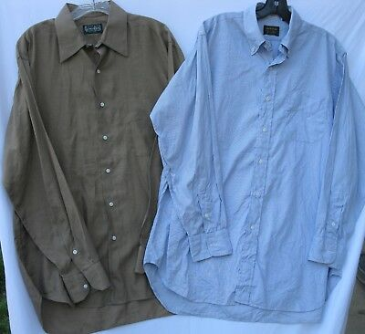2 Vintage Gitman Bros. long sleeve cotton office/dress shirts for men size 16/34