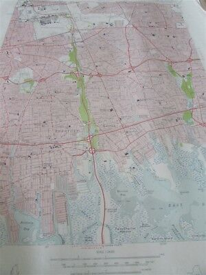 "22"" X 27"" New York State Quadrangle Topographical Map of Freeport 1955 M-9"