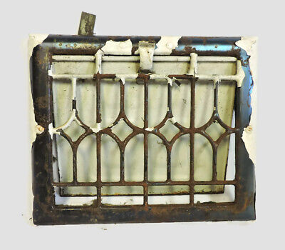 "ANTIQUE METAL HEATING GRATE REGISTER VENT WALL ORNATE 11.5 X 9.5"" c"