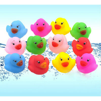 12 Pcs Colorful Baby Children Bath Toys Cute Rubber Squeaky Duck Ducky ATJC