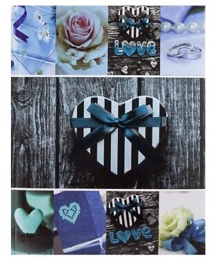 "Blue Slip In Photo Album 300 6"" x 4"" Photos Memo Wedding Home Heart Love Gift"