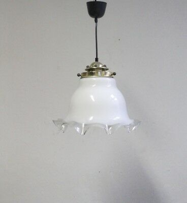 Mid Century  Vintage White  & Clear Art Glass Ceiling Pendant Lamp 1960s Italy