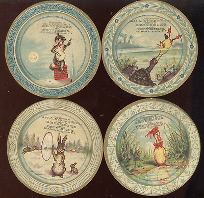 "Set Of 4- 3 1/2"" Disc Tc, Geo C Young & Bros Groceries & Provisions, Syracuse Ny"