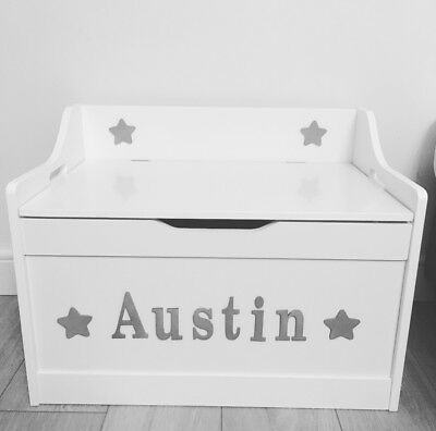 white toy box personalised high quality slow close safely hinge large storage
