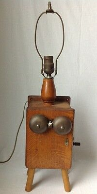 Vtg Antique Western Electric Wood Crank Telephone Lamp Magneto Ringer Bell Oak