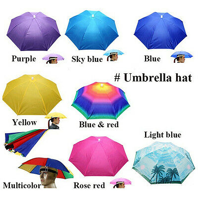 Umbrella Hat Sun Shade Camping Fishing Hiking Outdoor Foldable Headwear NewATJC
