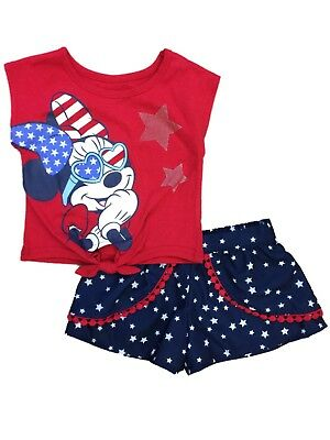 3f63184ed Disney Infant Girls Patriotic Minnie Mouse Baby Outfit Star Shorts & Shirt