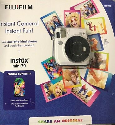 Fujifilm Instax Mini 70 Instant Camera (White)+1 Pack of Rainbow Film(10 Sheets)