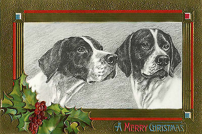 Pointer Dog M Kirmse 1935 Nast Santa - LARGE New Blank Christmas Note Cards