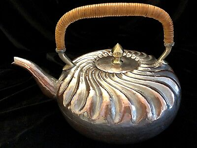"""Antique Teapot Copper Brass Tin Hand Made Hammered Metal Repose Chinese 6"""" Dia"""