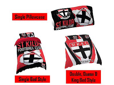 St Kilda Saints AFL Pillow Quilt Cover Set: Single, Double, Queen & King Bed