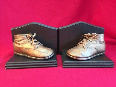 """Vintage Set Pair Bookends With BRONZE BABY SHOES Wood Platform 6"""" X 4.5"""" Each"""