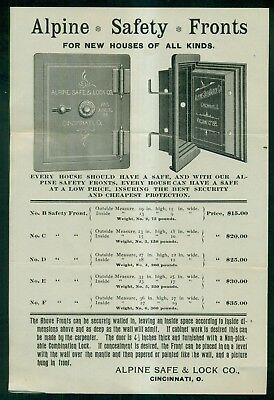 "1896 Alpine Safe & Lock Co. ""Alpine Safety Fronts"" Ad Flier - Cincinnati,OH"