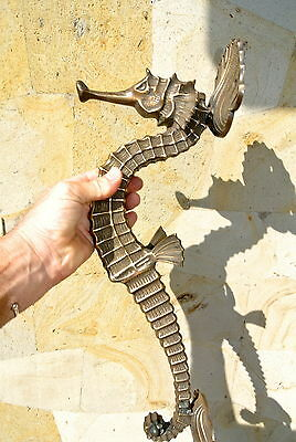 """massive SEAHORSE solid brass door old style house PULL handle 21"""" heavy aged B"""