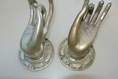 """2 used Pull handle hand buddha door aged SILVER old style knob hook 3.1/2"""" B"""