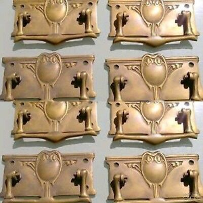 """8 heavy DECO handles door brass furniture antiques vintage age old style 4"""" B"""