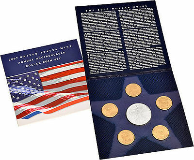 2007 US Mint Annual Uncirculated Dollar Coin Set (Sealed) 6 Coins Silver Eagle