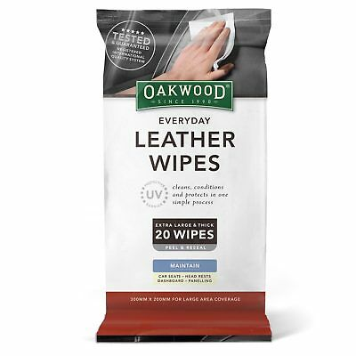 Oakwood Automotive Everyday Leather Wipes With UV Protect 20 Pack | Vinyl Clean