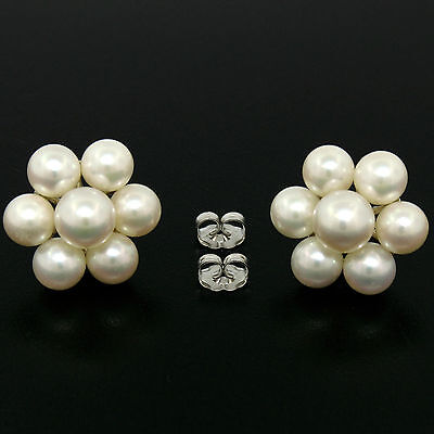 Vintage Large 14K White Gold 7mm Round white Pearl Flower Cluster Stud Earrings
