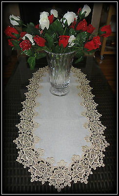 "Rose Lace Table Runner Dresser Scarf 35"" Soft Gold / Beige White Doily"