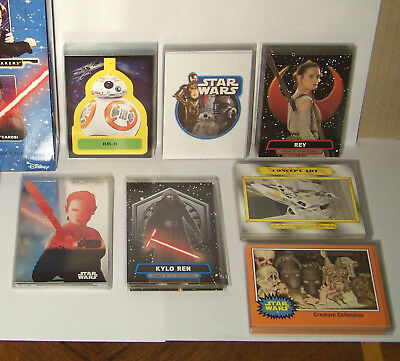 Journey to Star Wars The Force Awakens 7 set insert card lot. 70 cards