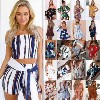 Women Ladies Summer Holiday Beach Mini Jumpsuit Playsuit Romper Dress Short Pant