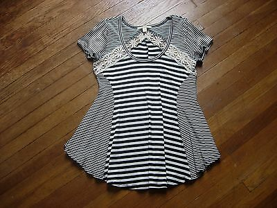 """Womens """"miami"""" Black & White Striped W/lace Short Sleeve Flare Top/shirt Size M"""