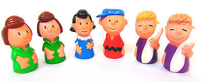 "Lot of 6 Vinyl Peanuts Figures 2"" tall Linus Lucy Charlie Brown Patty Hong Kong"