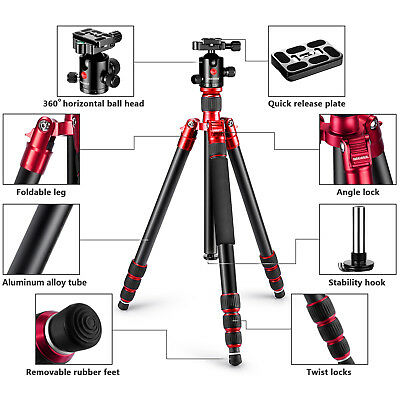 """Neewer Red Alluminum Alloy 67"""" Tripod Monopod Holder with 360 Degree Ball Head"""