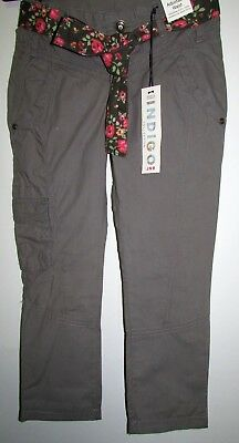 New Girls Cargo Trousers Casual With Belt Marks & Spencer Indigo Collection Mink