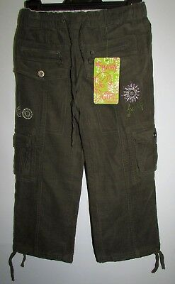 New Girls Cord Trousers By Mcbaby Khaki Embroidered Ages 2 & 4 Casual