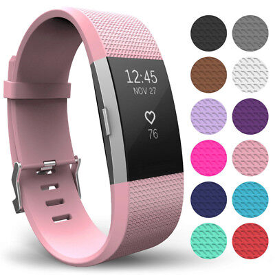 Replacement Silicone Strap For Fitbit Charge 2 Sports Band Wristband Small&Large