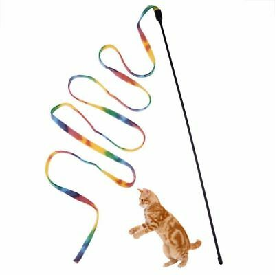 Pet Cat Toys Rainbow Cloth Stripe Tease Cats Rod Teaser Funny Playing Toy NEW